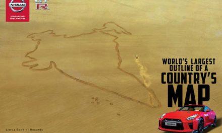 """""""نيسان جي تي – آر"""" ترسم بعجلاتها أضخم خريطة في العالم لجمهورية الهند"""