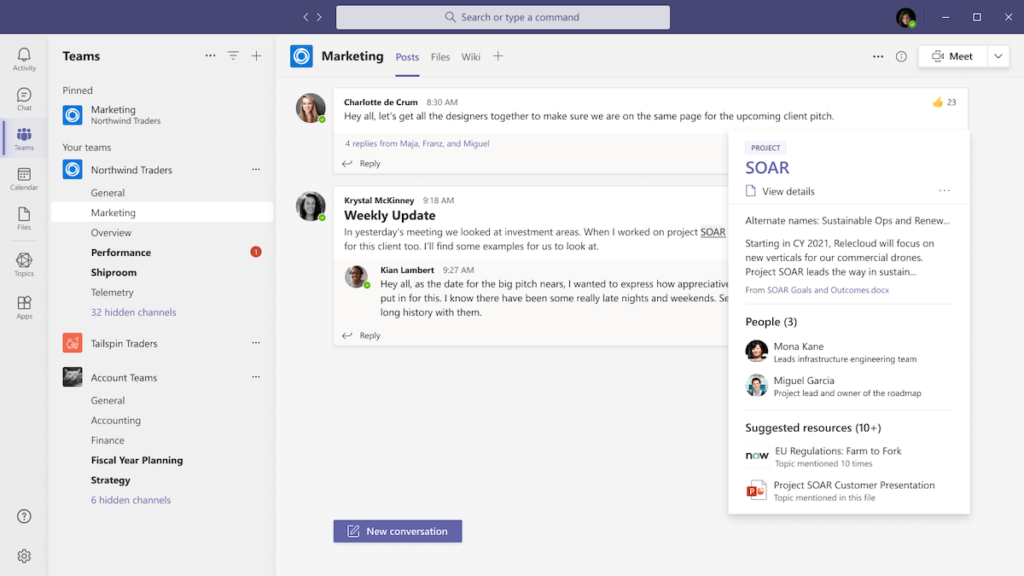 Topic card opening in Microsoft Teams