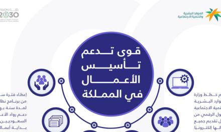 """وزارة الموارد البشرية والتنمية الاجتماعية تحث المنشآت حديثة التأسيس للاستفادة من خدمات منصة """"قوى"""""""