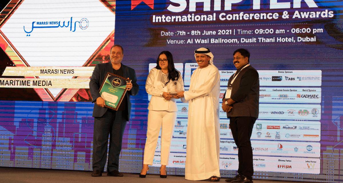 """منصة """"مراسي نيوز"""" تحصد جائزة """"أفضل إعلام بحري"""" ضمن جوائز """"شيب – تيك"""" البحرية العالمية 2021"""