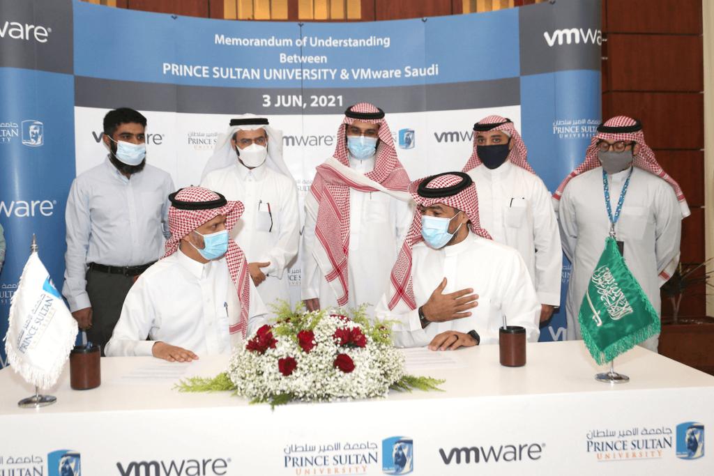 Front L-R_Dr. Mohamed Alkanhal, PSU, and Saif Mashat, VMware