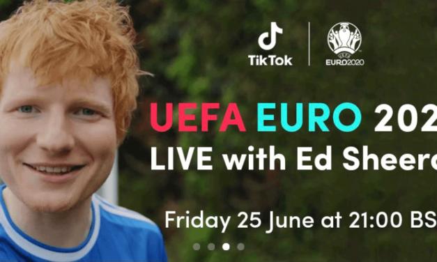 النجم العالمي إد شيران في عرض خاص على تيك توك خلال 2020 UEFA EURO يوم الجمعة 25 يونيو